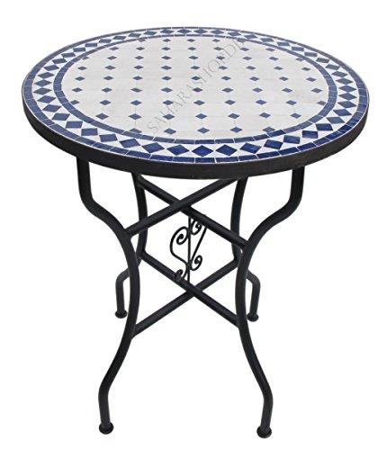 Orientalischer Mosaiktisch Rund Ø 60 cm Blau-Natur
