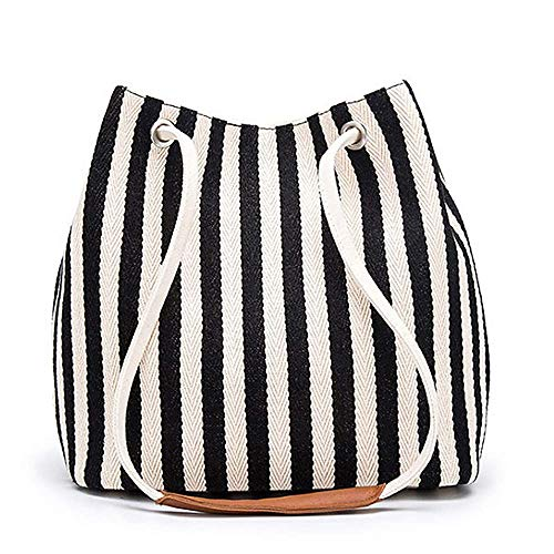 Gupiar Women's Ladies Striped Tote Bag Small Canvas Shoulder Bag Hobo Bag Daily Purse Tote Bag Working Handbag (Black)