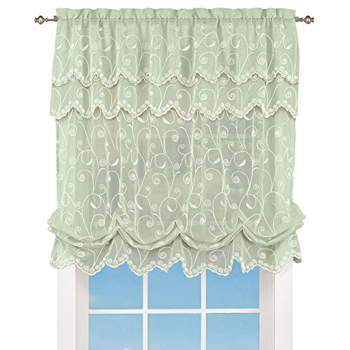 Collections Etc Sheer Balloon Curtain Shade with Scroll Pattern & Rod Pocket Top, 63