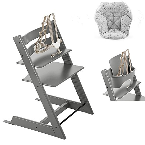 Stokke Tripp Trapp with Baby Set, Storm Grey & Mini Baby Cushion, Cloud Sprinkle (Tripp Trapp Cushion)
