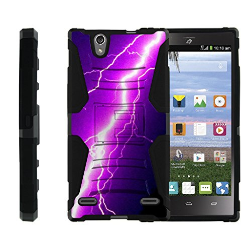 ZTE Lever LTE Case | ZTE Z936L, Dual Layer Shell [Clip Armor] Shell Belt Holster Clip Case with Unique Graphic Images by Miniturtle - Purple Lightning Bolt - Levers Bolt Kit