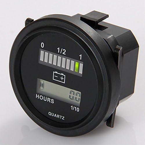 Rund Lcd Stundenzähler Mit Led Batterieindikator Gauge 12v 24v 36v 48v 72v Für Golfschlepper Kehrmaschine Auto