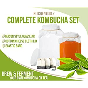 2 Pack - 1 Gallon Glass Wide Mouth Kombucha Jar - Home Brewing and Fermenting Kit with Cheesecloth Filter, Rubber Band and Plastic Lid - By Kitchentoolz
