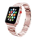 Sport Band for Apple Watch 38mm, Gotd Stainless Steel Strap Bracelet Wrist Band Replacement Watch Band For Apple Watch 38mm Series 3, Series 2, Series 1, Large Small, Men Women (Rose Gold)