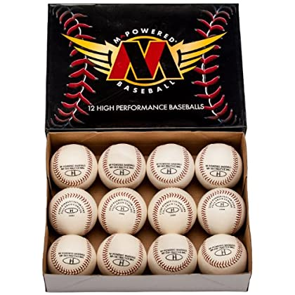 Image of Baseballs Mpowered Baseball Premium Leather Slight Cosmetic Blemish Practice Baseballs (Pack of 120)