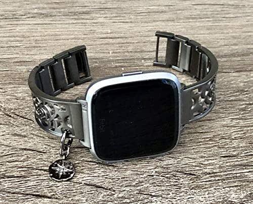 Amazon.com: Brushed Gunmetal Bracelet For Fitbit Versa