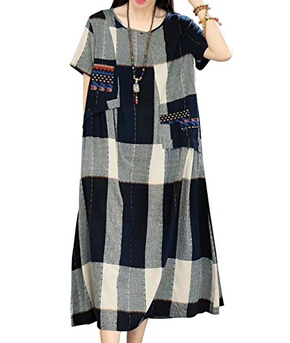 YESNO Y61 Women Long Loose Maxi Plaid Dress Linen 'A' Skirt Embroidered Patchwork Short Sleeve Pocket - Embroidered Patchwork Skirt