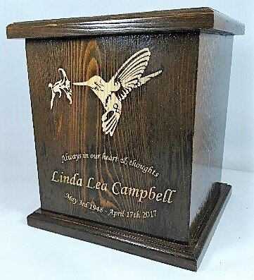 Humming Bird Cremation Urn, Wooden Urn, Adult Funeral Wooden Urn With personalized Engraving by NWA (Image #2)
