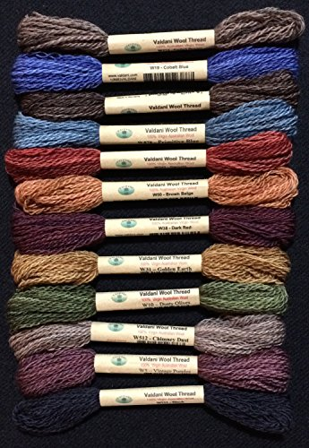 Folk Art Wool (Valdani 100% Australian Virgin Wool 12 Color Thread Collection Size 8 Primitive Art)