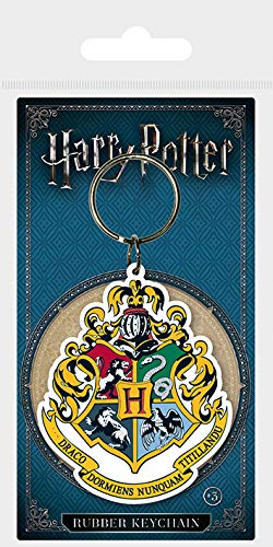 Amazon.com : Harry Potter Hogwarts Crest Rubber Keychain ...