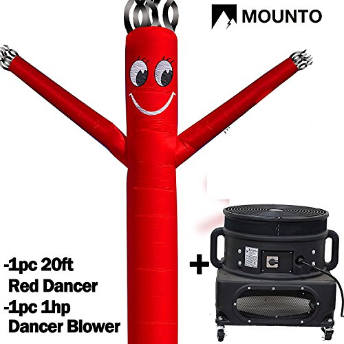 MOUNTO 20ft Air Sky Puppet Dancing Dancer with 1HP Blower Complete Set, 20-Feet 18Inch (Red)
