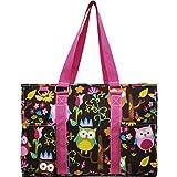 Owl Town Print NGIL Zippered Caddy Organizer Tote Bag