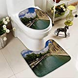 2 Piece Toilet Cover set URFA,TURKEY JUNE,Holy Lake is a holy travel destination fish lake and Halil ur Rahman Mosque Non-slip Soft Absorbent Bath Toilet mat