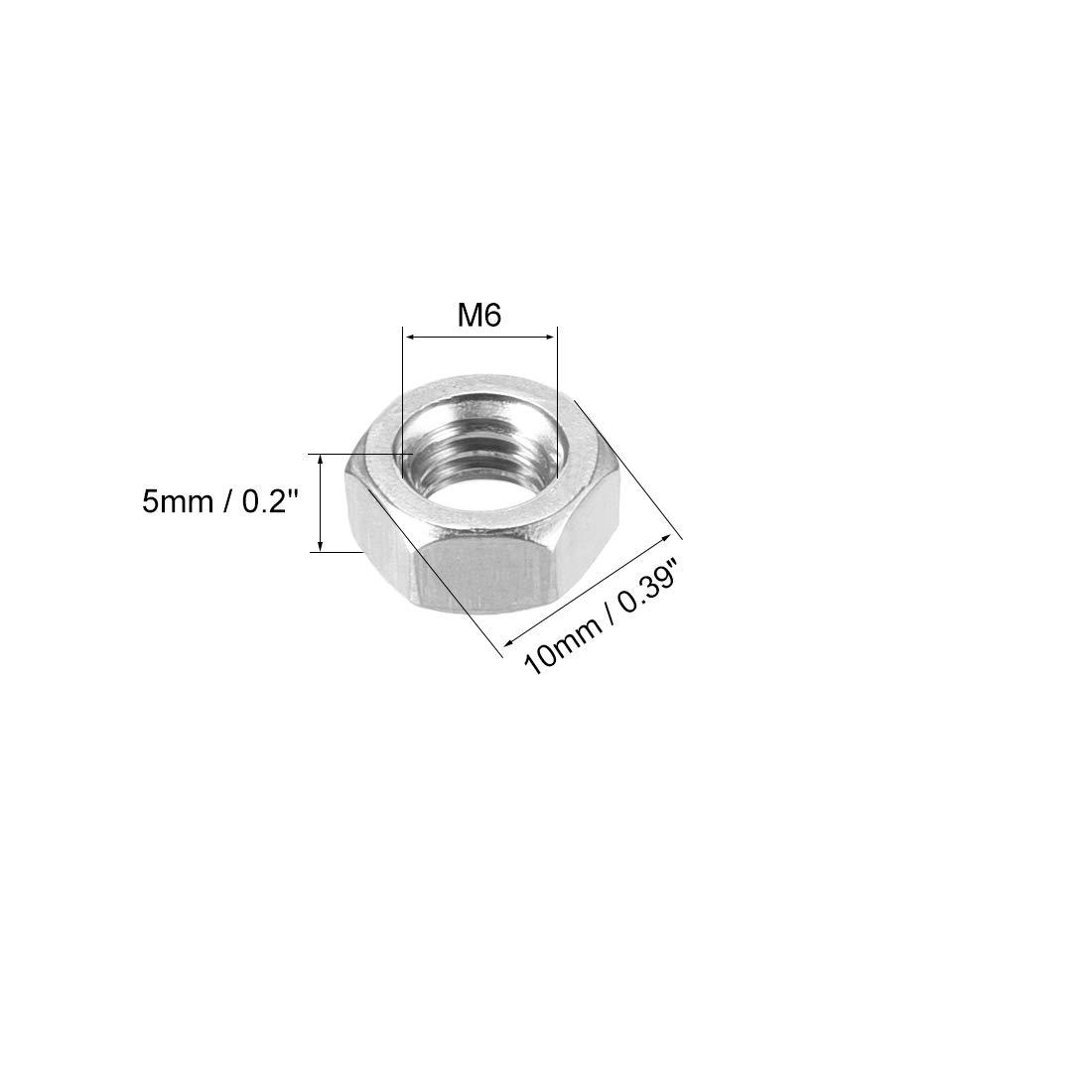 sourcing map Tuerca hexagonal m/étrica M10 de acero inoxidable 304 de color plateado 10 piezas