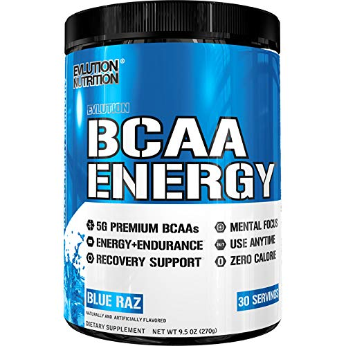 (Evlution Nutrition BCAA Energy - High Performance Amino Acid Supplement for Anytime Energy, Muscle Building, Recovery and Endurance, Pre Workout, Post Workout (Blue Raz, 30 Servings))
