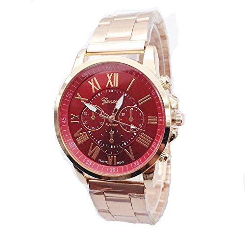 Geneva Mens Womens Unisex Stainless Steel 2380-Gold-GEN Gold Tone Classic Faux Chronograph Analog Quartz WristWatch-RED Face