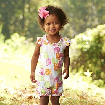 c5c42ba0206 Amazon.com   Forest Friends Owl Romper by Mud Pie   Baby