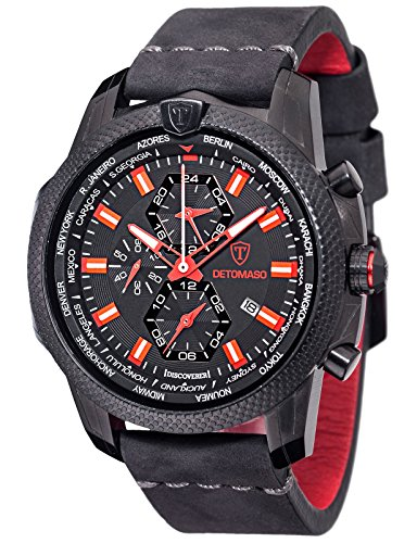 DETOMASO DISCOVERER World Time Mens Sports Watch with Alarm & Leather Strap (Black/Red)