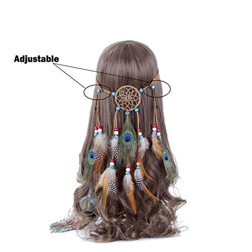 Women Feather Headband Headdress Tribal Hair Rope Headpieces Hippie Party 1 pc