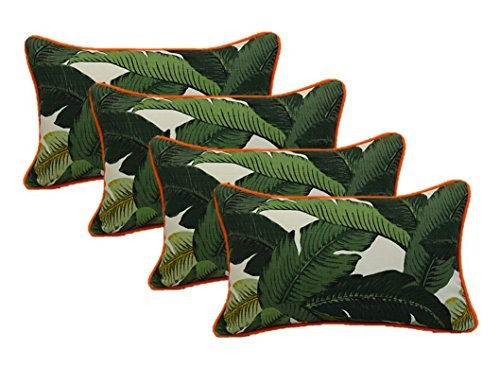 Set of 4 Indoor / Outdoor Decorative Lumbar / Rectangle Pillows - Tommy Bahama Green Tropical Swaying Palms Orange Piping / Cording - Zipper Cover & Insert