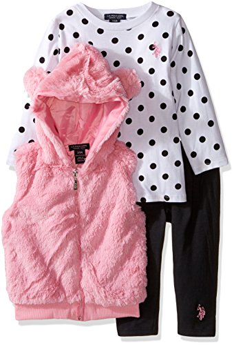 U.S. Polo Assn. Baby Girls' Big Ears Faux Fur Hooded Vest, Polka Dot T-Shirt and Legging, Prism Pink, 3-6 Months