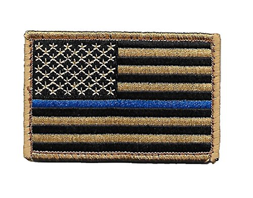 Desert/Coyote US Flag Thin Blue Line Patch for Police and Law Enforcement with Hook/Loop Backing (Velcro Patch Tan)
