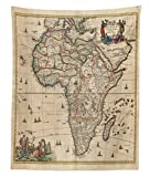 Lunarable Antique Tapestry Twin Size, Old Map of Africa Continent Ancient Historic Rustic Manuscript Geography, Wall Hanging Bedspread Bed Cover Wall Decor, 68 W X 88 L inches, Sand Brown Multicolor