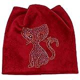 Londony Hats & Caps,Women Cat Bead Muslim Hat Stretch Retro Turban Hat Head Wrap Cap