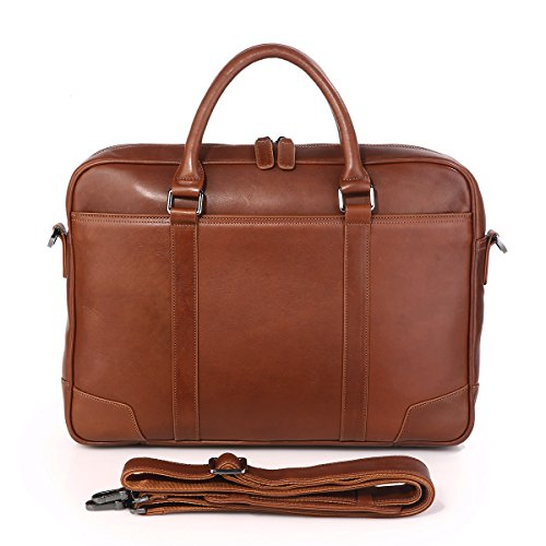 Texbo Genuine Top Cow Leather Business Briefcase Fit 15.6'' Laptop Bag Tote (Brown) by Texbo (Image #7)
