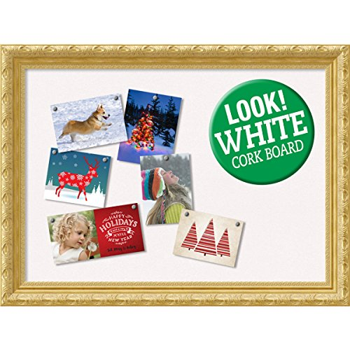 Amanti Art Framed White Christmas Card Cork Board, Versailles Gold: Outer Size 32 x 24'' by Amanti Art