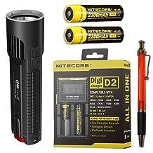Nitecore EC4S 2150 Lumen Flashlight CREE XHP50 LED w/2x NL183 18650 Batteries & D2 Charger