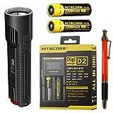 Nitecore EC4S 2150 Lumen Flashlight CREE XHP50 LED w/2x NL183 18650 Batteries & D2 Charger + FREE Andrew & Amanda Pen