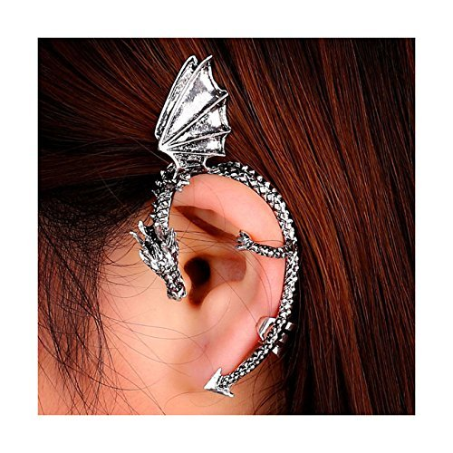 Ularmo Gothic Punk Temptation Metal Dragon Bite Ear Cuff Wrap Clip Earring Silver