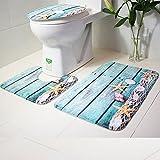 3PC Bath Mat Rug Set Bathroom Non-Slip Floor Mat Ocean Style Pedestal Rug + Lid Toilet Cover + Bath Mat Makaor (75cmx44cm/44cmx39cm/40cmx38cm, Pattern A)
