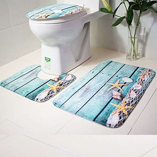 Makaor Bathroom Rugs Set of 3, Ocean Beach Style Non Slip Washable Bath Shower Mat, Contour Mat & Toilet Lid Cover,Flannel Soft & Quick Dry,Super Absorbent Rug (A, Size A)