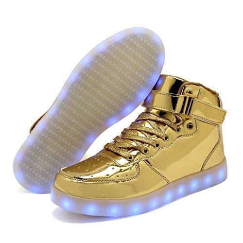 DEMANGO LED Light Up Shoes For Mens Womens High Top Flashing Rechargeable Sneakers Gold5 cYLeK5C5