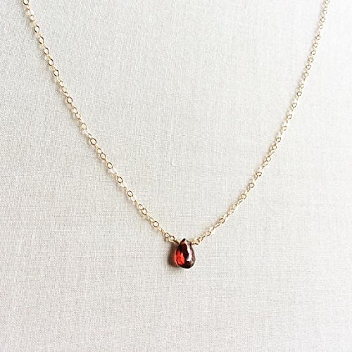 JP_Beads Garnet Necklace, January Birthstone, Garnet Necklace Gold, Garnet Jewelry, 14k Garnet Necklace, Garnet Choker, Birthstone Necklace 8mm by 5mm