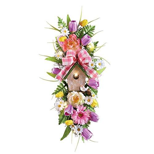 "Pre-lit LED Spring Birdhouse Floral Swag, 10""L x 24"" H, B..."