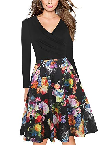 oxiuly Women's Criss-Cross V-Neck Long Sleeve Floral Casual Work Party Tea Swing Dress OX233 (M, Black Rose P9)