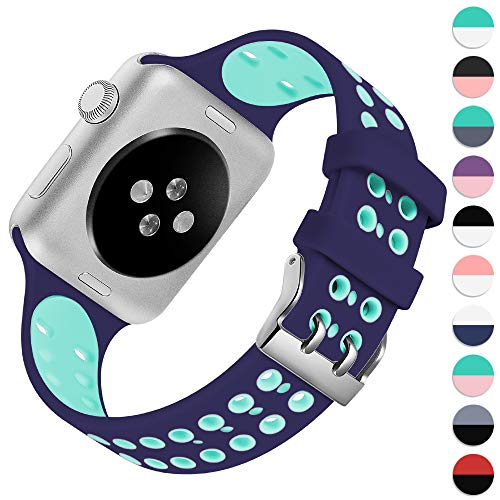 KOLEK Sport Band Compatible with Apple Watch Series 4/3/2/1, Cute Replacement Bracelet for iWatch 38mm 40mm, Navy Blue/Green