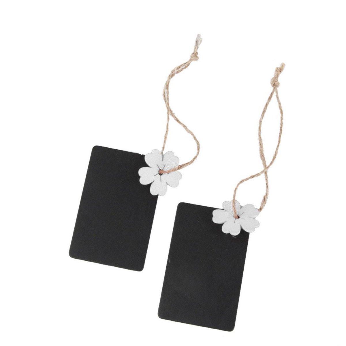 PIXNOR 10pcs color blanco flor Mini rectangular para colgar de madera pizarra para tarjetas de boda Favor etiqueta de regalo