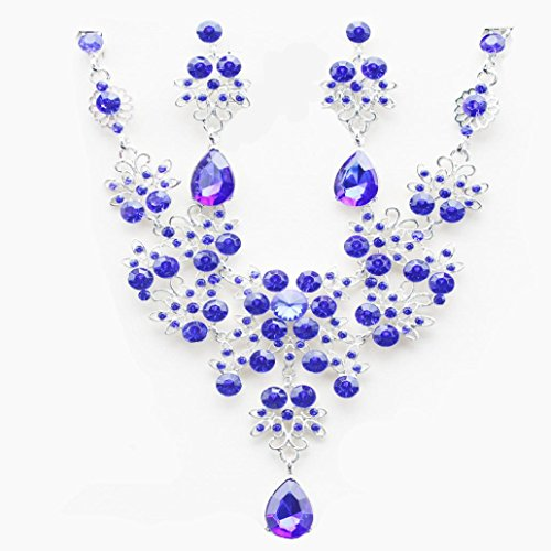 Women Jewelry ,AIMTOPPY Prom Wedding Bridal Jewelry Crystal Rhinestone Necklace Earring Sets (Purple, free)