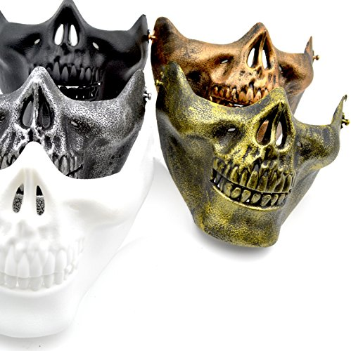 Skull Mask Costume [5 PACK] Black / Silver / Gold / White / Bronze (Sunglasses Ready) - for Bikers / Paintball / Airsoft / Military Members / Halloween (Halloween Face Paint Scary Clown)