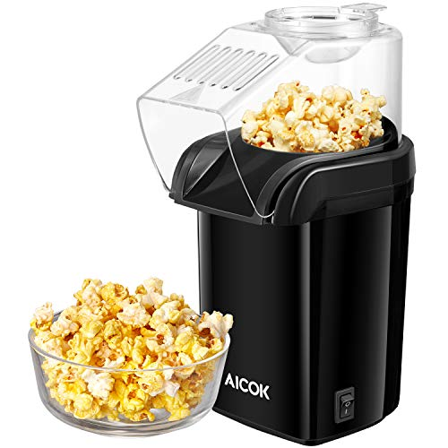 Hot Air Popcorn Popper, Aicok 1200W Fast Popcorn Maker with Measuring Cup, Removable Lid, No Oil Needed, FDA and ETL Approved, Black