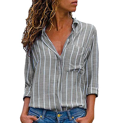 Chic Col Chemise Top Classique Chemisier Manches Ray Multicolore Tunique Up Blouse V Chemisier Longues Shirt Button Chimie Top MORCHAN Mode Femme Gris Champion qSwvSPU