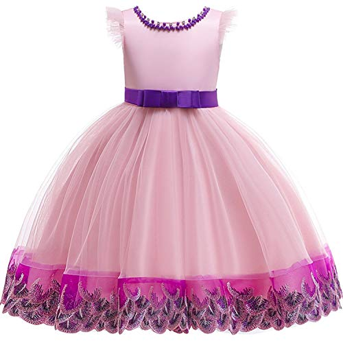 Baby Girls 3D Flower Embroidery Silk Princess Dress for Wedding Party Kids Dresses,Pink,6]()