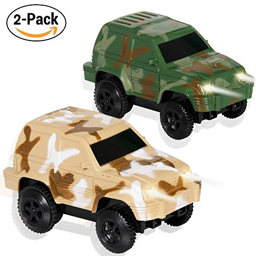 Car track Toys Racing Cars Flashing Lights Toy Glow in the Dark Racing Track Accessories Compatible with Most Tracks for  Kids  Mini Camouflage Track Car Play Set(2-Pack)