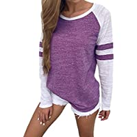 SUNNYME Women's Long Sleeve Shirts Tees Baseball Color Block Striped Loose Fit Blouses Tops