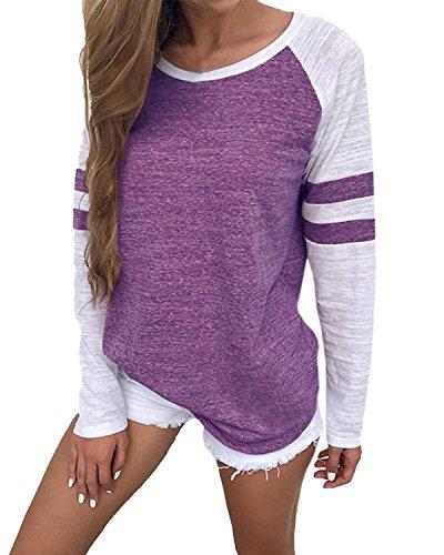 ball Tees Shirts Long Sleeve Color Block Loose Tunics Blouses Tops Purple M ()