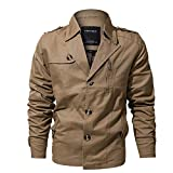 Xchenda Men's Clothing Jacket Military Tactical Outwear Windbreakers V-Neck Clothing Button Pocket Coat (XL, Khaki)